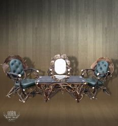 Zestaw mebli trzy fotele i ława