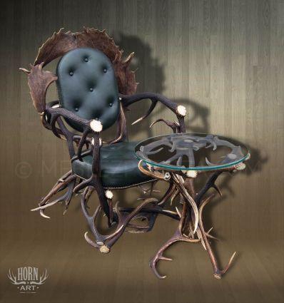 Fotel z poroża skóra zielona i stolik z poroża szyba okrągła