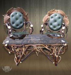 Zestaw mebli fotele i ława z szyba grawerowana